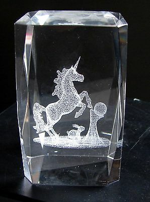 NEW 3D LASER ETCHED CRYSTAL GLASS TOWER PAPERWEIGHT UNICORN BEVELED EDGE 3x2x2