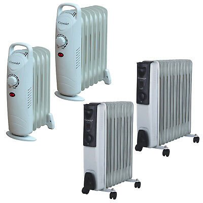 5 7 9 & 11 Fin Oil Filled Radiator 240V Electric Portable Heater Timer & 3 Heat