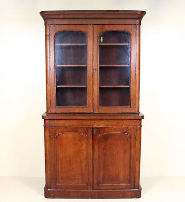 Large Antique Victorian Oak Bookcase Glass Library Haberdashery Display Cabinet