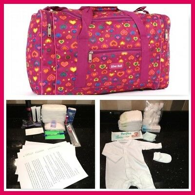 Pre-packed budget maternity/hospital/labour bag in fuschia and multi-heart print
