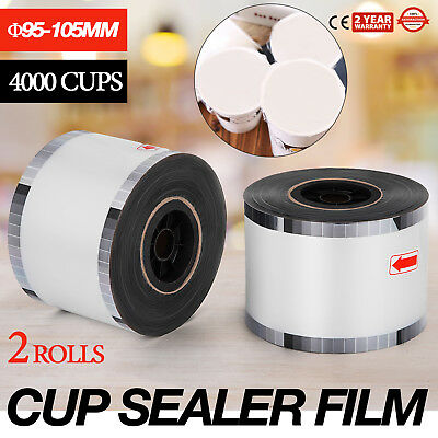 2 Rolls Cup Sealer Sealing Film 2* 4000cups Φ95-105mm @8000Cups Coffee Safe
