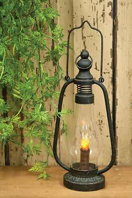 NEW! Primitive Country Rustic Farmhouse Black Metal Lantern W/ LED Timer Candle