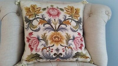 Vintage Hand stitched Needlepoint Wool and Velvet  Cushion Country house VGC