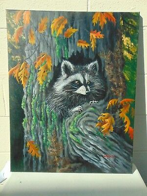 Original Acrylic Painting Wildlife Art Raccoon In A Tree Stretched Canvas Signed