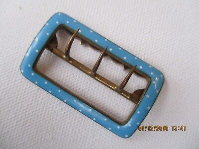 Vintage Buckle C 1950's Polka Dot -Blue And White Enamel - Functional, Collectab