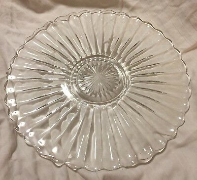 Vintage Round Glass Serving Tray Platter Cut Glass Sunburst Ribbed Scalloped