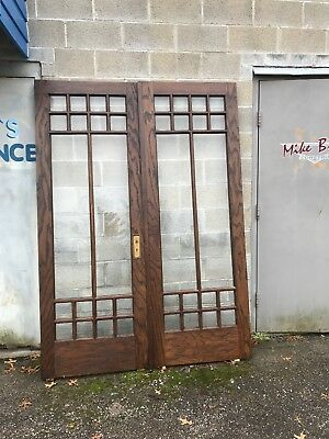 MAR 263 pair restored  antique oak beveled glass Arts and crafts French doors
