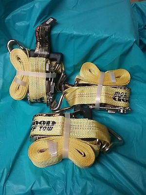 Lot of 3 Woods Tuff Tow Heavy Duty Ratchet Tie Down Straps 1.5 Inches X 15 Ft.
