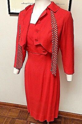 VINTAGE 1950S CORAL DRESS/ JACKET SET--'MARCY LEE of Dallas' LABEL--XS--SALE!!