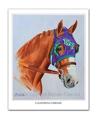 CALIFORNIA CHROME horse racing ART PORTRAIT thoroughbred painting Kentucky Derby
