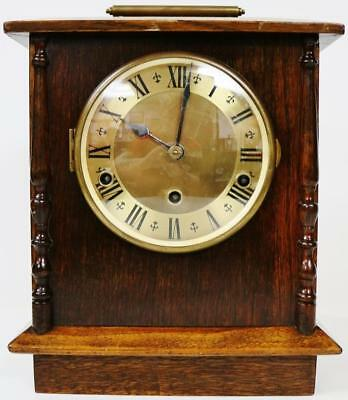 Antique English 8 Day Oak Westminster Chime Mantel Clock, Musical Bracket Clock