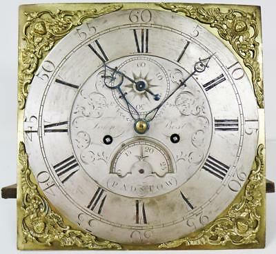 "Antique C1770 English 8Day Striking 12"" Dial Grandfather Longcase Clock Movement"
