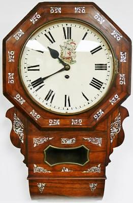 Antique English Single Fusee Rosewood Inlaid Station Public Drop Dial Wall Clock