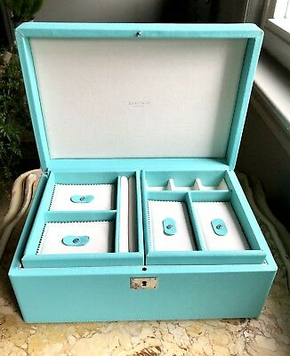 "TIFFANY & CO JEWELRY BOX CASE Retired Blue Leather Large 12'X8""X5"" $1,475 Retail"
