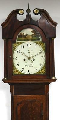 Antique C1830 English Mahogany Peterborough Longcase Grandfather Clock J Garrett