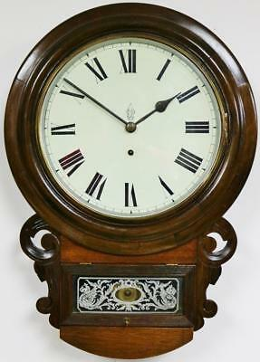 Antique 8Day Timepiece Drop Dial Wall Clock, Carved Mahogany American Wall Clock