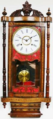 Antique American Inlaid Marquetry Spring Driven Striking Drop Dial Wall Clock