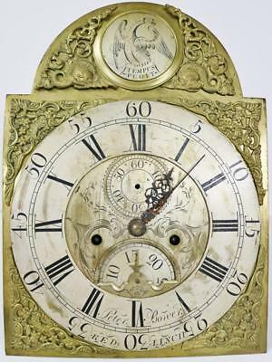 Antique English Brass Arched Dial 8 Day Grandfather Longcase Clock Movement