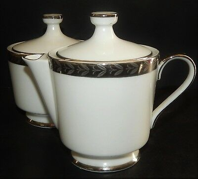 Footed Creamer Sugar Bowl Monarch Empress 125 China Japan Silver Trim Porcelain