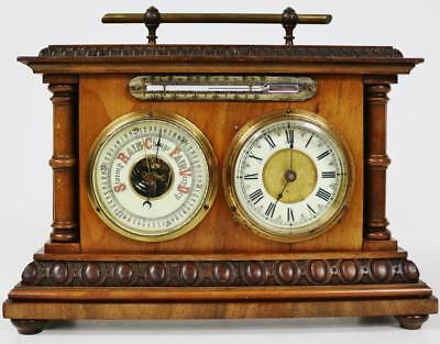 Fine Carved Walnut Antique French Combination Mantel Clock Thermometer Barometer