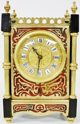 Antique French 8 Day Bronze Architectural Red Shell & Ebonised Mantel Clock