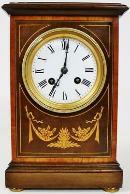 Antique French 8Day Striking Mantel Clock Mahogany & Inlaid Marquetry R&Co Paris