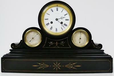 Antique Combination Barometer Thermometer French 8 Day Slate Marble Mantel Clock