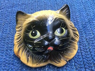 """Vintage Carnival Chalk Ware Cat Face 3 1/2"""" X 4"""" Wall Hanger"""