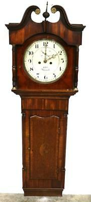 Antique Mahogany & Oak Weight Driven 8 Day Tavern Wall Clock R Holt Newark 1840
