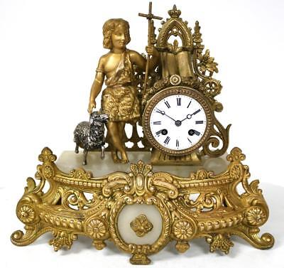 Antique French Mantel Clock 8 Day Gilt Spelter Shepard Figure With Silver Sheep