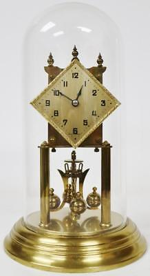 Superb Antique German 400 Day Anniversary Torsion Mantle Clock Under Glass Dome