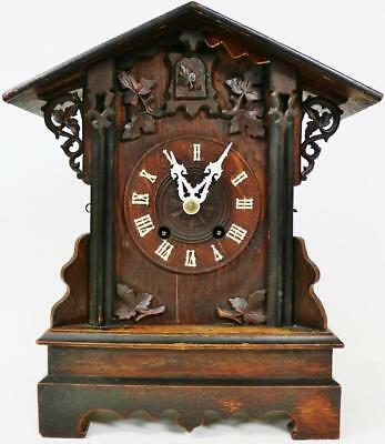 Antique 8 Day German Hand Carved Black Forest Cuckoo Mantel/Bracket Clock