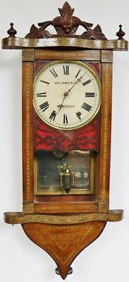 Antique American Inlaid Spring Driven Drop Dial Wall Clock Spares Or Repair