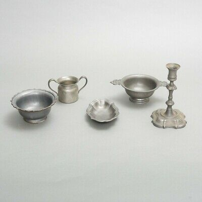 5 Piece Lot Antique Collectible Pewter Dishes Bowls Candlestick Wallace, Federal