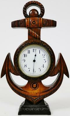 Antique French 8 Day Carved Oak Mantel Clock, Carved Anchor Designed Desk Clock