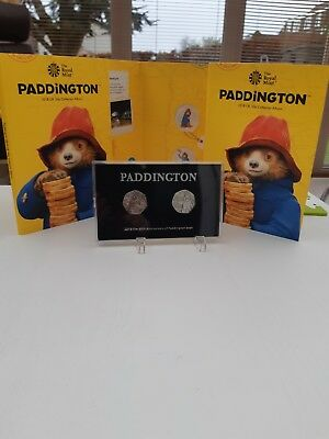 2018 Paddington Bear 50P In Display Case, With Coins At The Station And Palace.