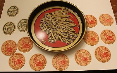 Vintage 50'S Iroquois Beer Indian Head Tray Sign And Coasters Buffalo New York