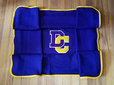 "Vintage Purple and Gold ""DC"" Wool Letterman Blanket"