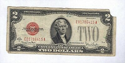 1928 G Series $2 Two Dollar Red Seal Note