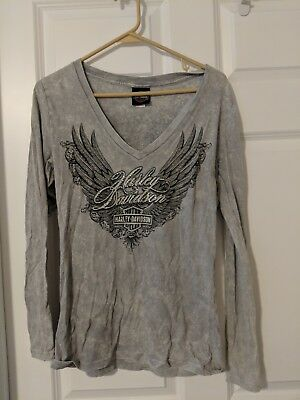 Harley Davidson Women's Long Sleeve Gray Shirt Small