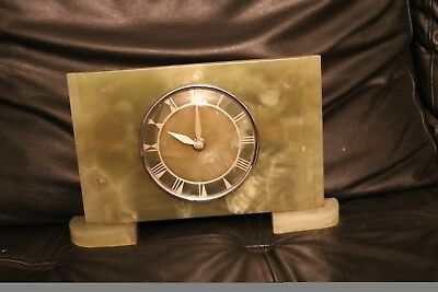 Art Deco onyx mantle clock green smiths sec electric spares parts