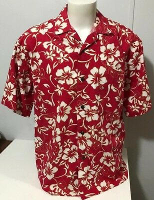 0b25594779 VINTAGE HILO HATTIE Mens XL Hawaiian Original Shirt Red White Gray Hibiscus  USA