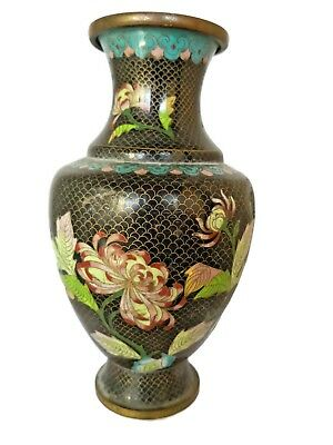 Antique Vase Japanese Meiji Period( 1868-1912) Black Cloisonne With Pink Flowers