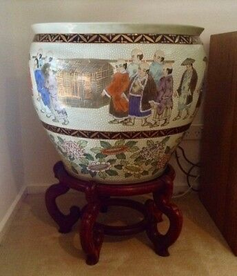 Large Antique Mid 20th Century Decorated Chinese Fishbowl and Wood Stand RARE!