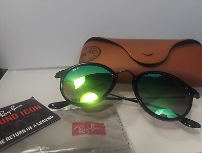 8fc6a8d6d0 RAY BAN NWT Sunglasses Black Green Gradient Flash Mirror RB2447 901 4J 49  145