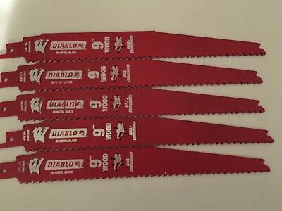 "Diablo 9"" 4/6"" Tpi General Purpose Nail Embedded Wood Metal Plastic Blades-5 Pc"