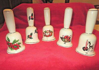 Annual Christmas Bells Ceramic clapper Vintage Collectible