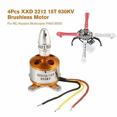 4Pcs XXD 2212 15T 930KV Brushless Motor for RC Airplane Multicopter F450 S500Pc