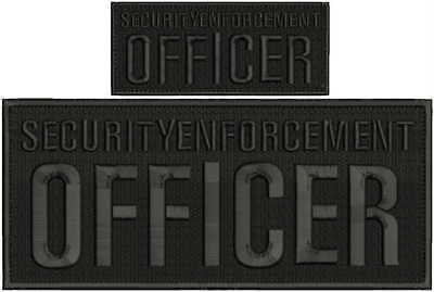 Security enforcement officer embroidery patch 4X10 and 2x5 hook black