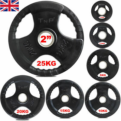 "2"" TNP Rubber Encased Tri Grip OLYMPIC Barbell Weight Disc Plates Set range"